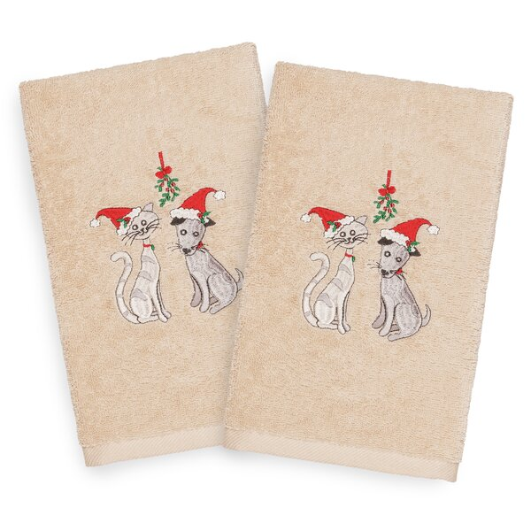 Beam Cute Couple Embroidered Luxury 100% Turkish Cotton Hand Towel (Set of 2) by The Holiday Aisle